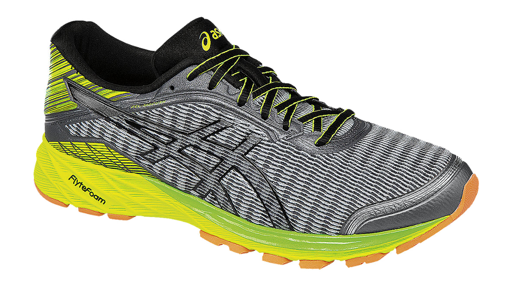 Top Fashion Mens Athletic Shoes - Asics Dynaflyte Mid Grey/Black/Safety Yellow